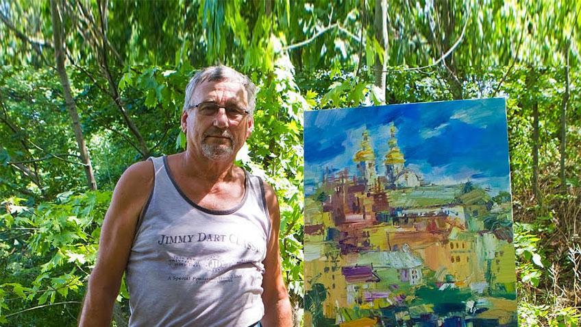 Володимир Оврах презентує свою картину